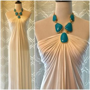 Sky White Emelina Maxi Dress Turquoise Necklace